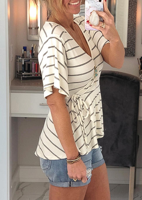 Striped Wrap Tie V-Neck Blouse - White