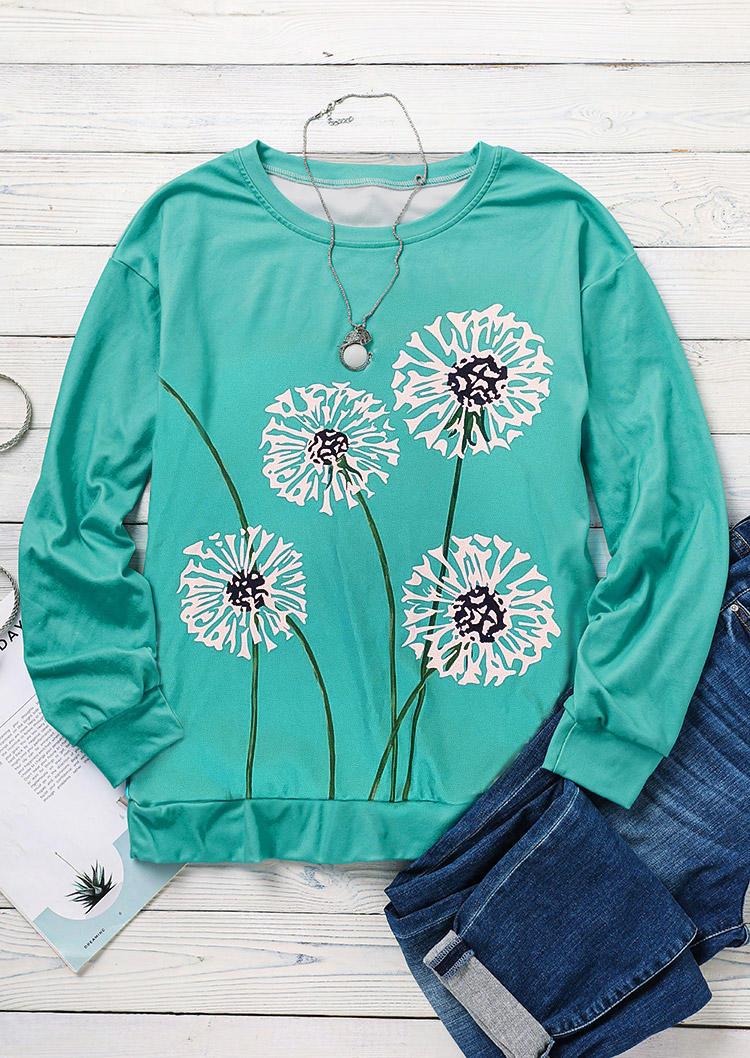 Dandelion LongSleeve O-Neck Sweatshirt - Cyan