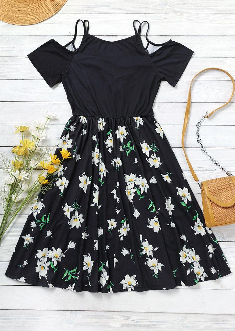 Floral Ruffled Spaghetti Strap Mini Dress - Black