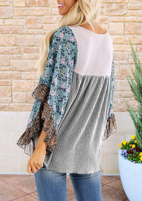 Floral Color Block Waffle Blouse - Gray