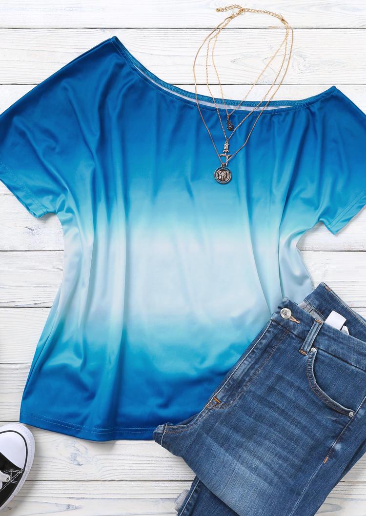 Gradient Slash Neck Short Sleeve Blouse - Blue