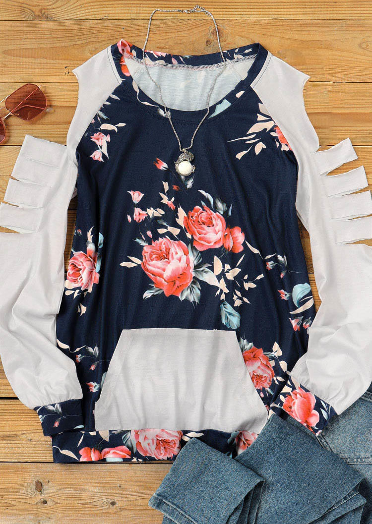 Floral Hollow Out Kangaroo Pocket Casual Blouse