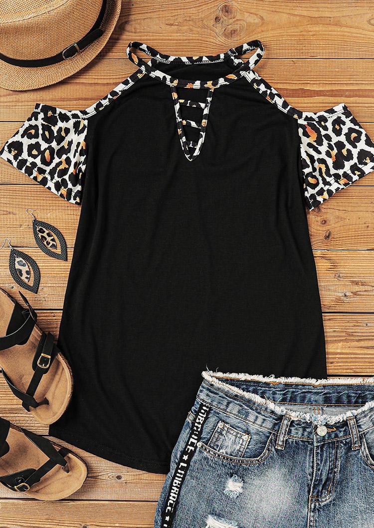 Leopard Keyhole Neck ColdShoulder Blouse - Black