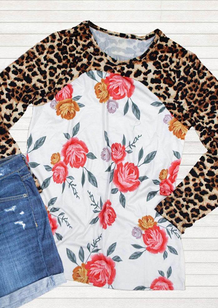 Leopard Floral Splicing LongSleeve T-ShirtTee
