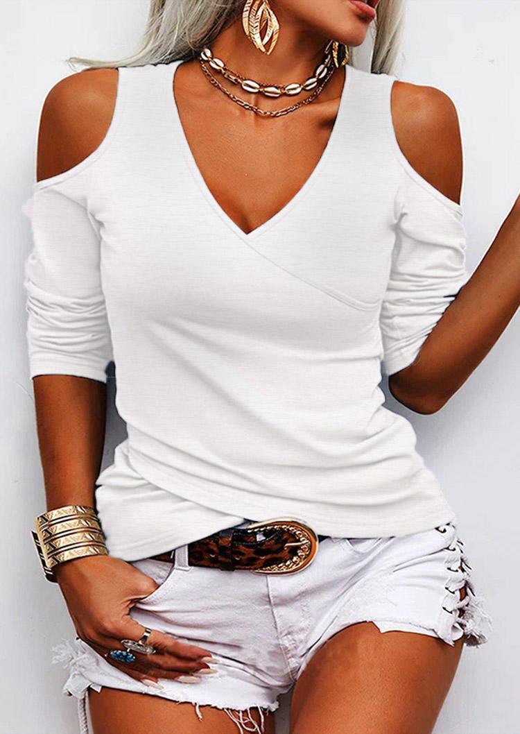Wrap Cross Cold Shoulder Blouse - White