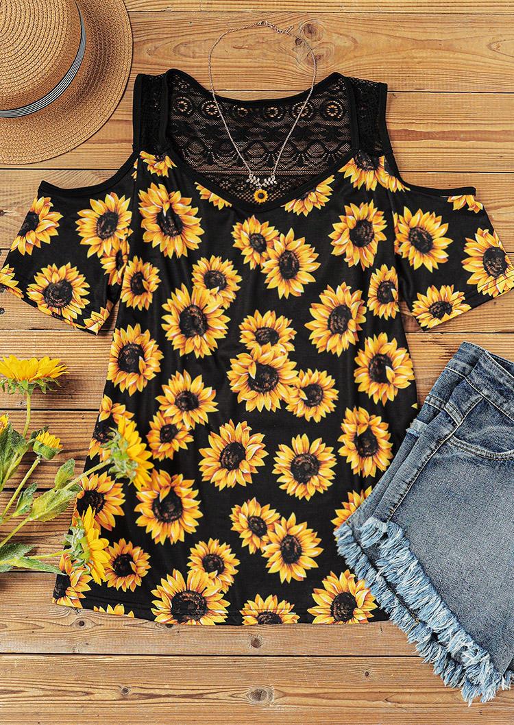 Sunflower Lace Splicing Cold Shoulder Blouse - Black