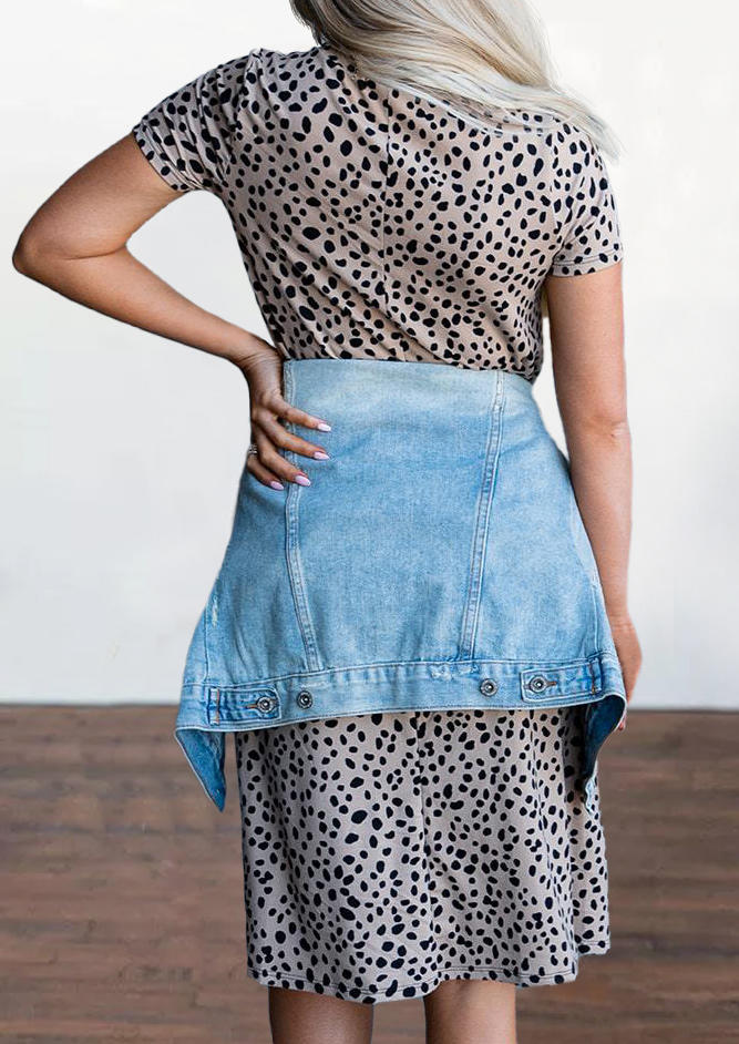 Leopard O-Neck Short Sleeve Mini Dress