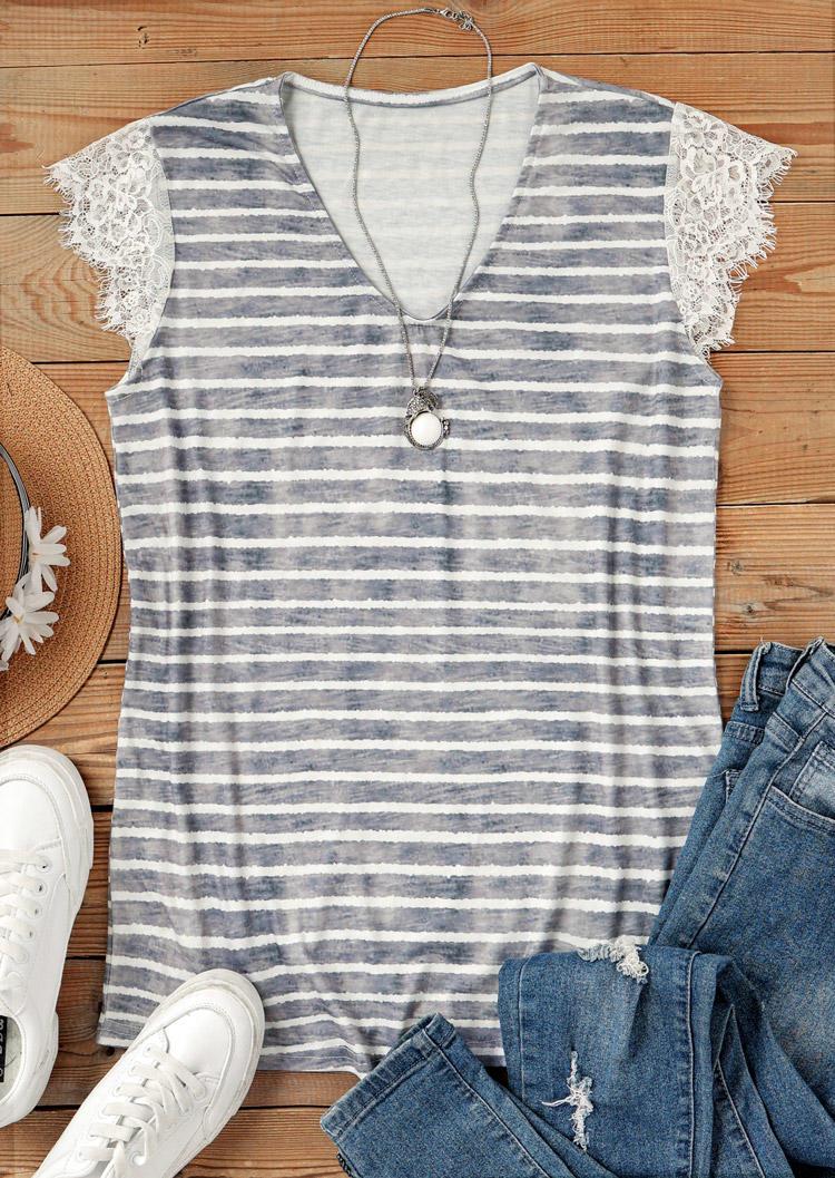 Striped Lace Short Sleeve V-Neck Blouse