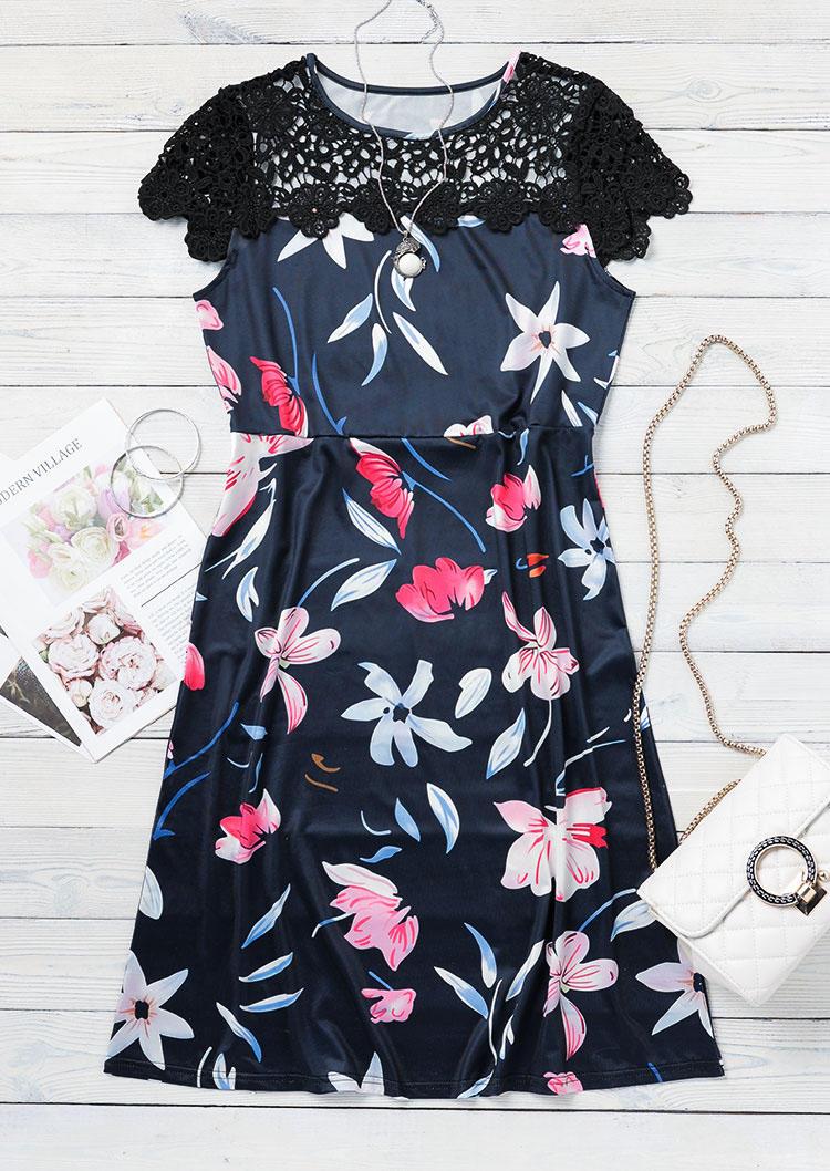 Floral Lace O-Neck Mini Dress - Navy Blue