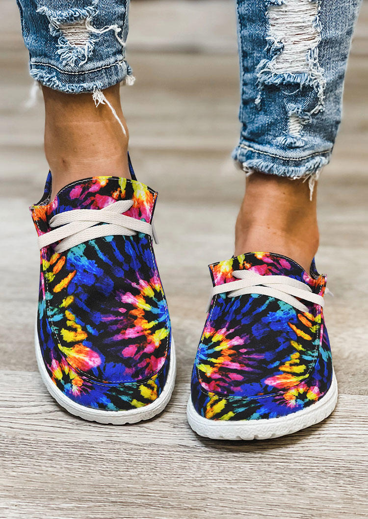 Reverse Tie Dye Rainbow Slip On Flat Sneakers