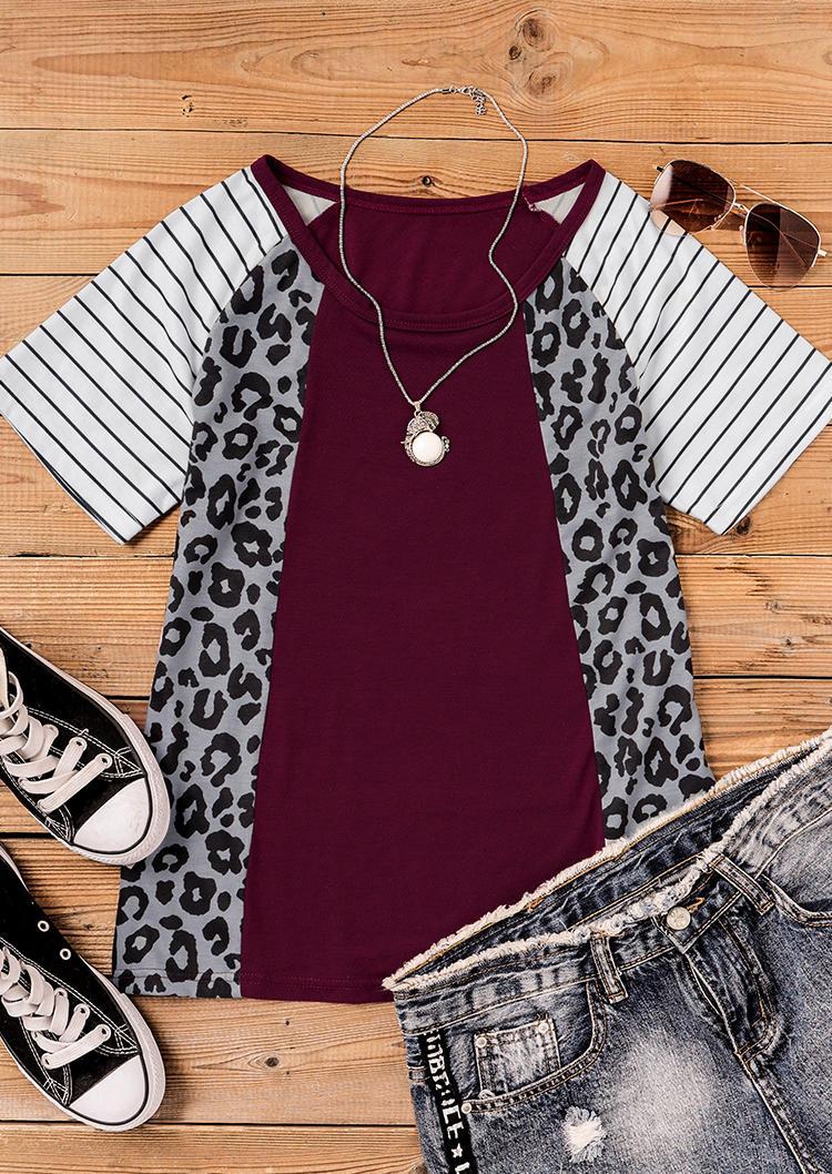 Leopard Striped Raglan Sleeve O-Neck Blouse
