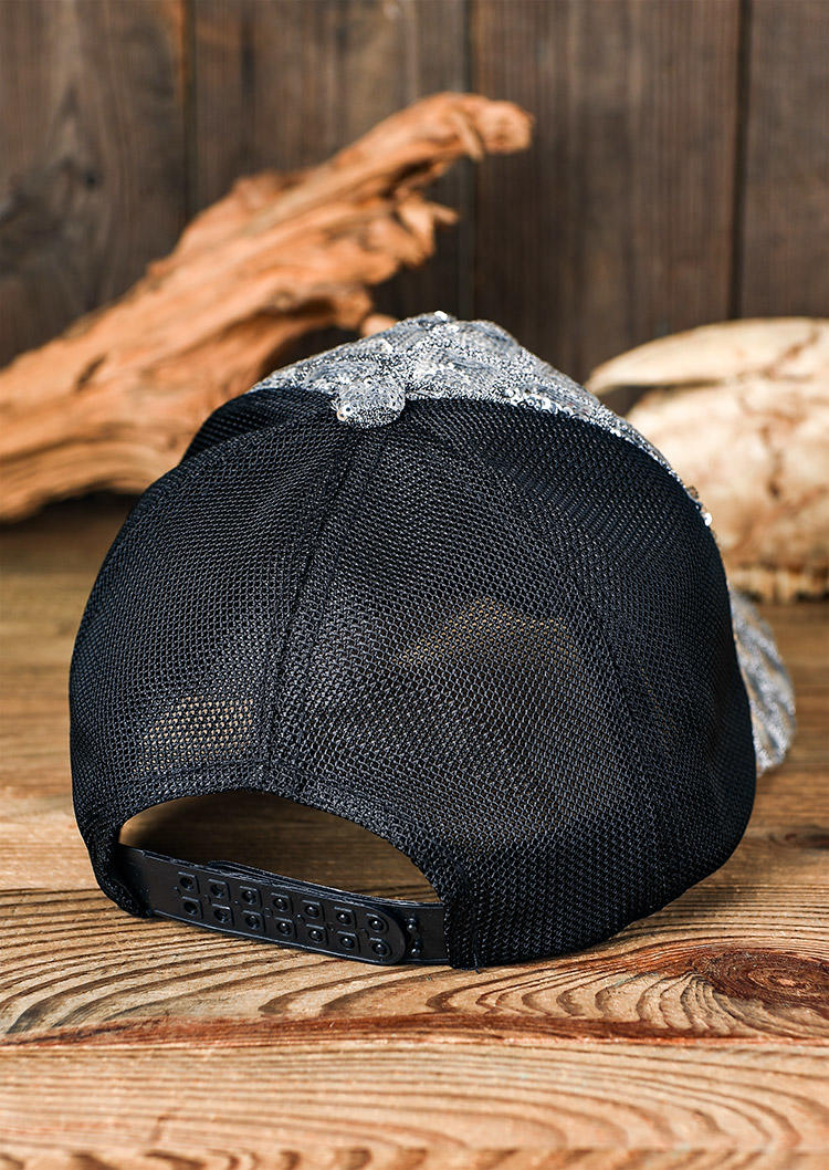 Colorful Sequined Mesh Splicing Adjustable Baseball Cap