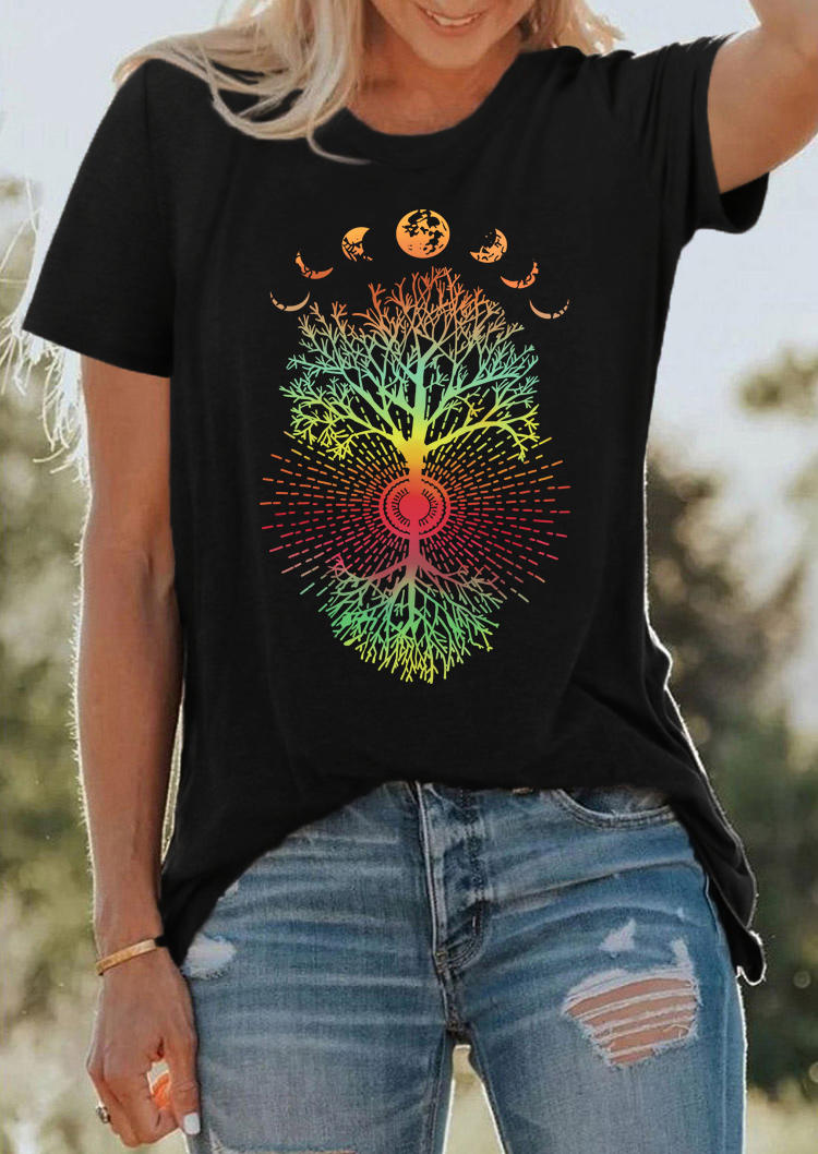 Phases Of The Moon Tree Of Life T-Shirt Tee - Black