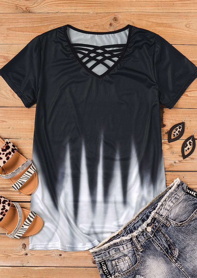 Gradient Criss-Cross Hollow Out Casual Blouse - Black