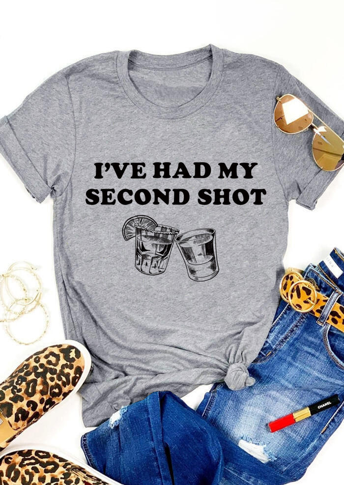 I've Had My Second Shot Juice T-ShirtTee - Gray
