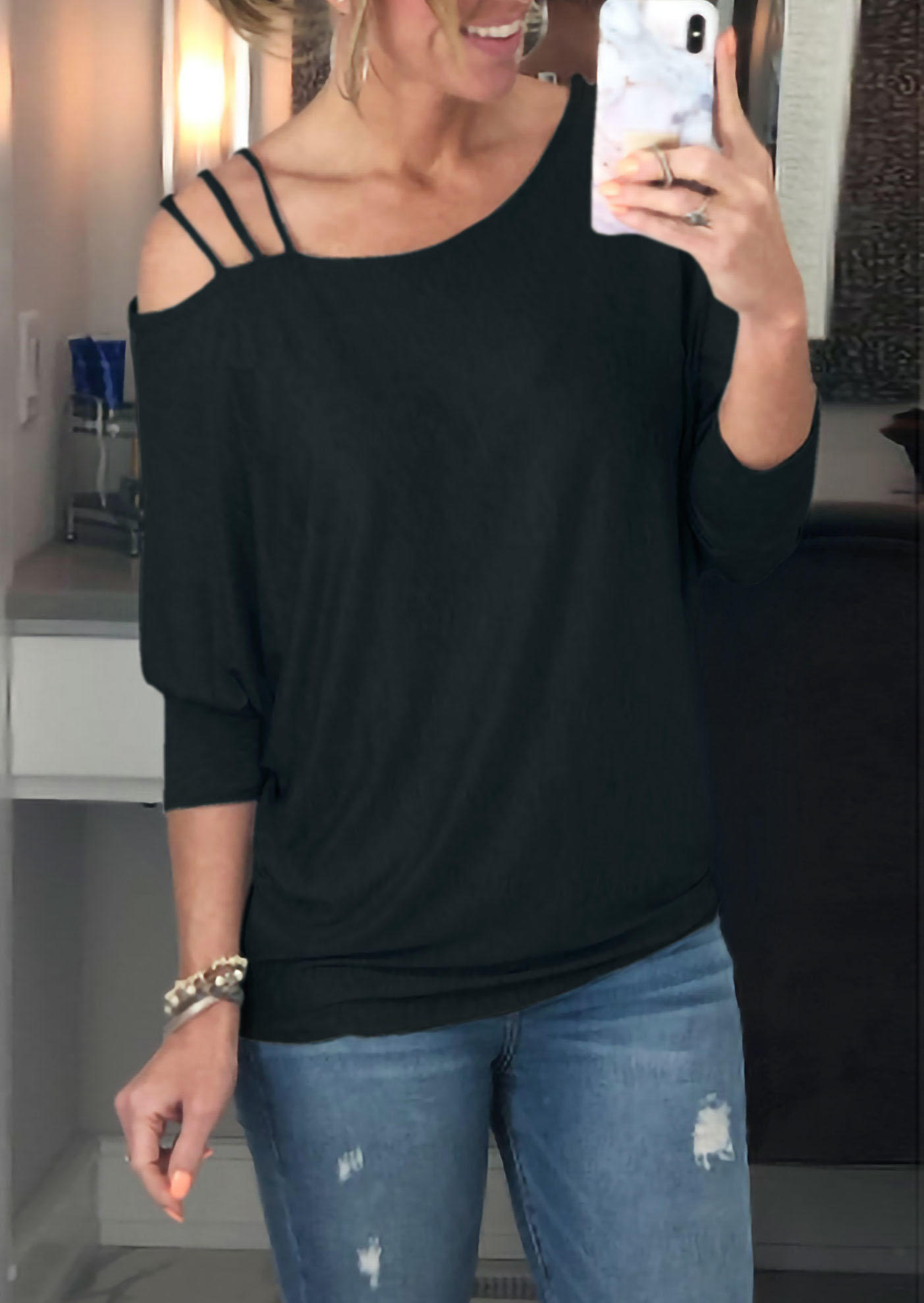 One Sided Cold Shoulder Casual Blouse - Black