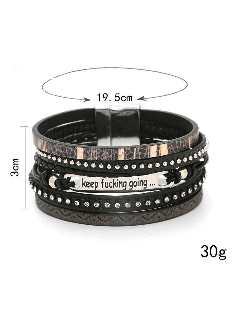 Letter Graphic Magnetic Buckle Bracelet