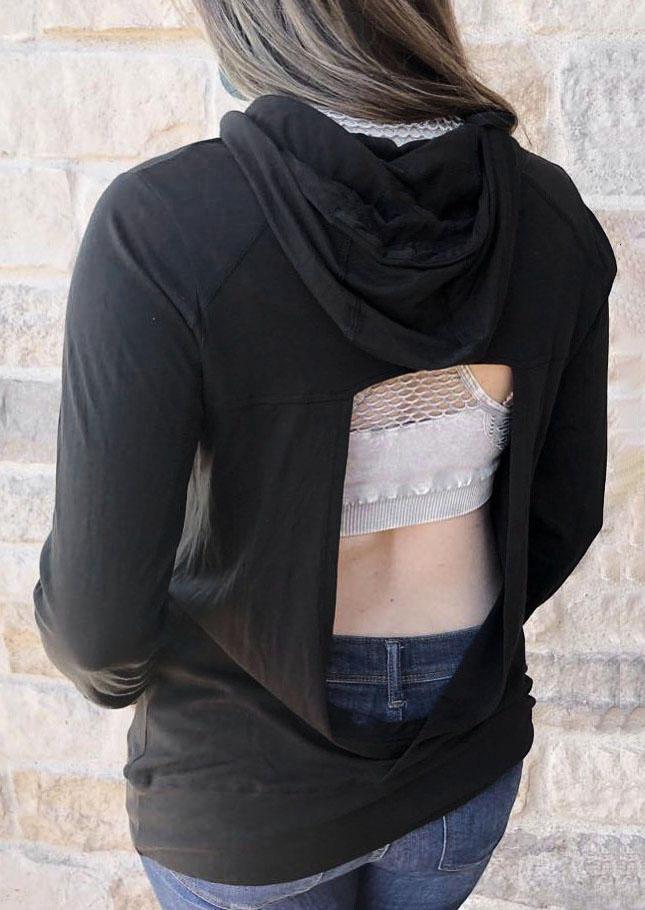 Open Back Long Sleeve Hoodie - Black