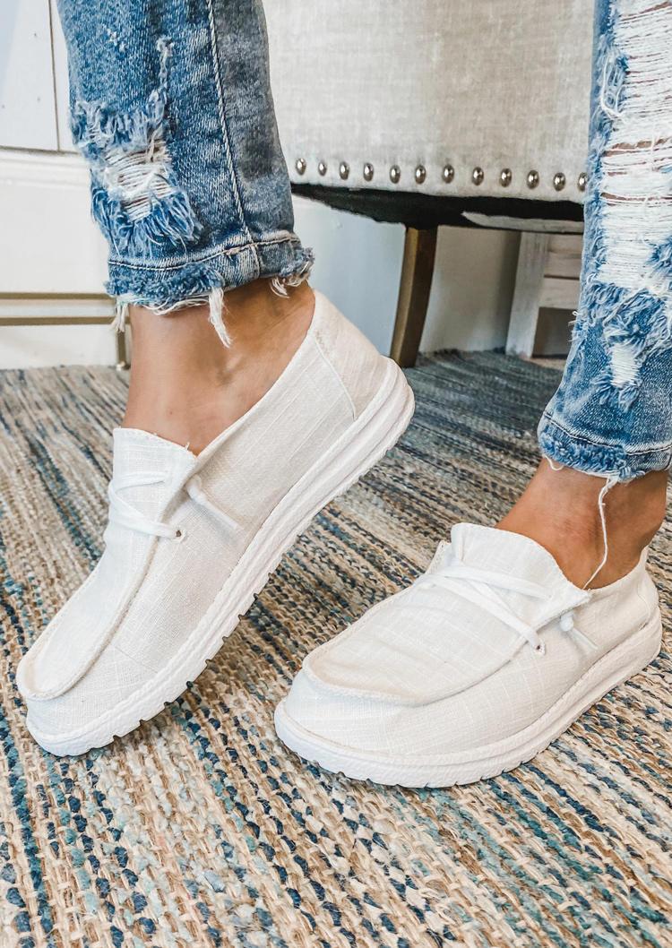 Lightweight Round Toe Flat Canvas Sneakers - Beige