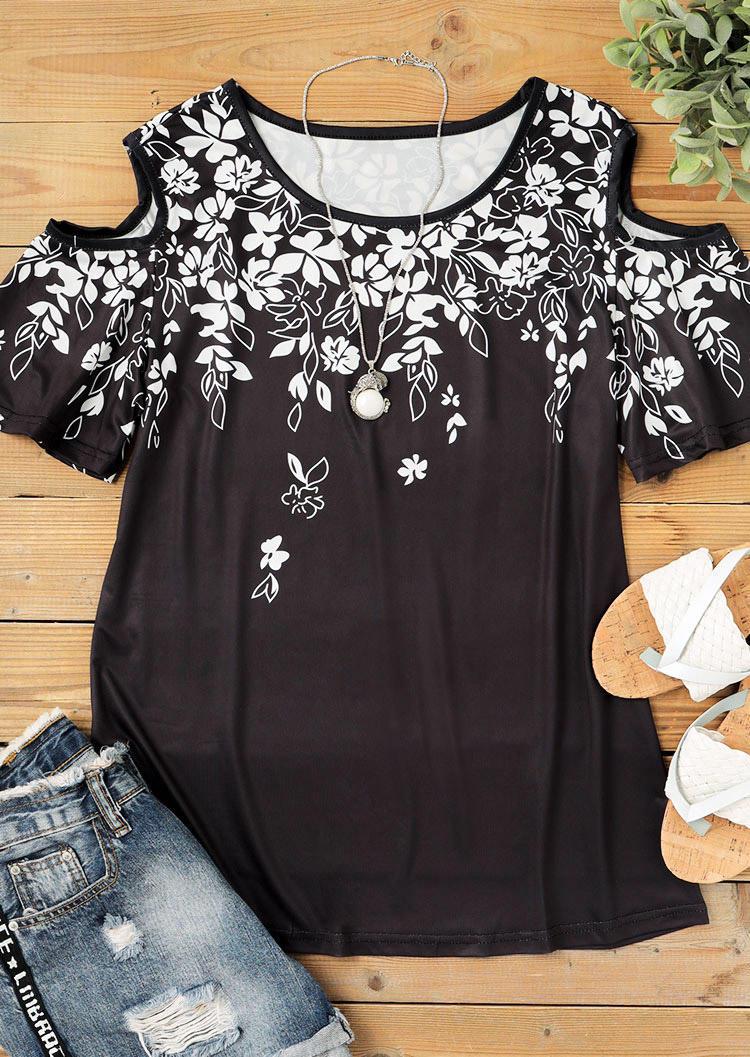 Floral Cold Shoulder Blouse - Black