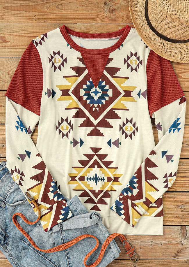Aztec Geometric Long Sleeve O-Neck Blouse
