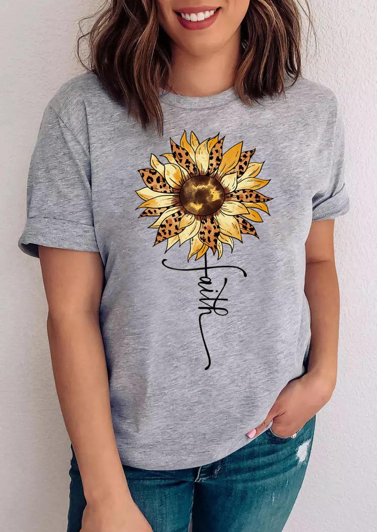 Leopard Sunflower Faith T-ShirtTee - Gray