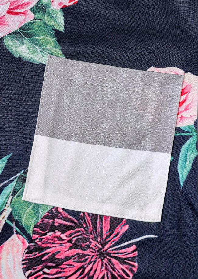 Pocket Floral Striped Long Sleeve Blouse
