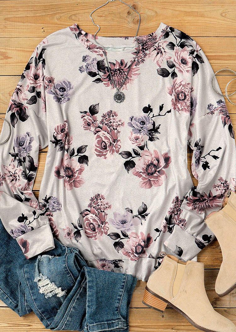 Floral Long Sleeve O-Neck Blouse - Light Grey
