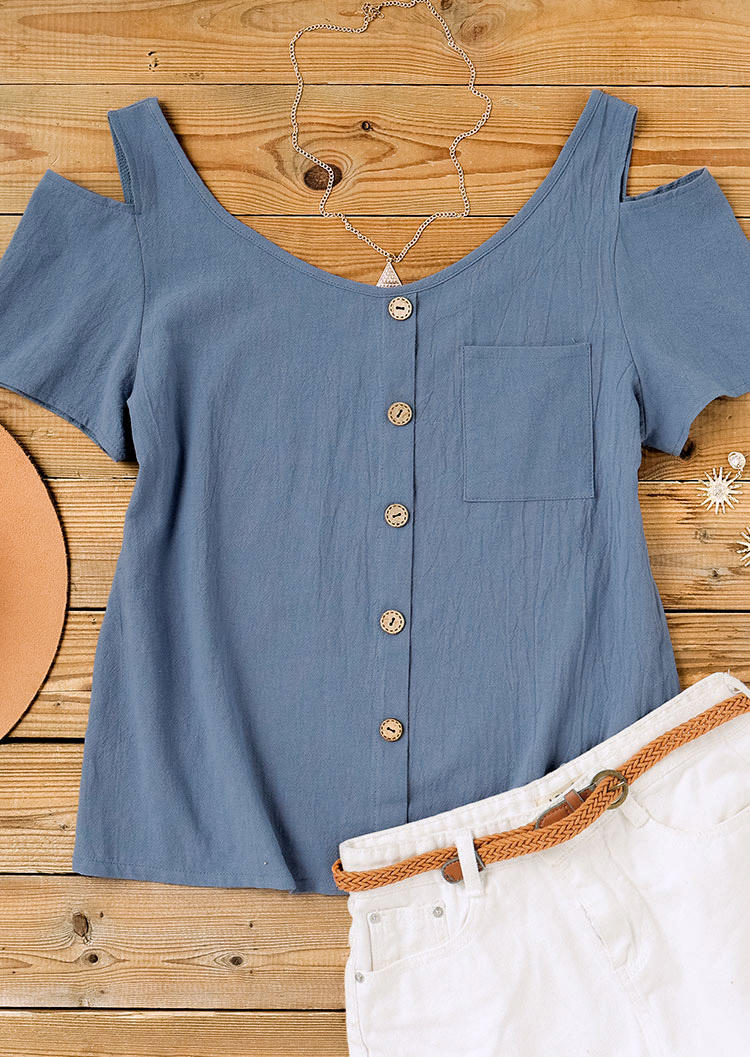 Pocket Button Cold Shoulder Casual Blouse - Blue