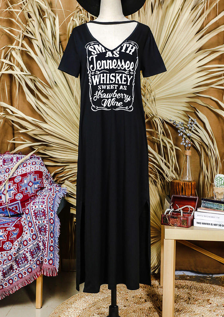 Smooth As Tennessee Whiskey Slit Pocket V-Neck Maxi Dress - Black
