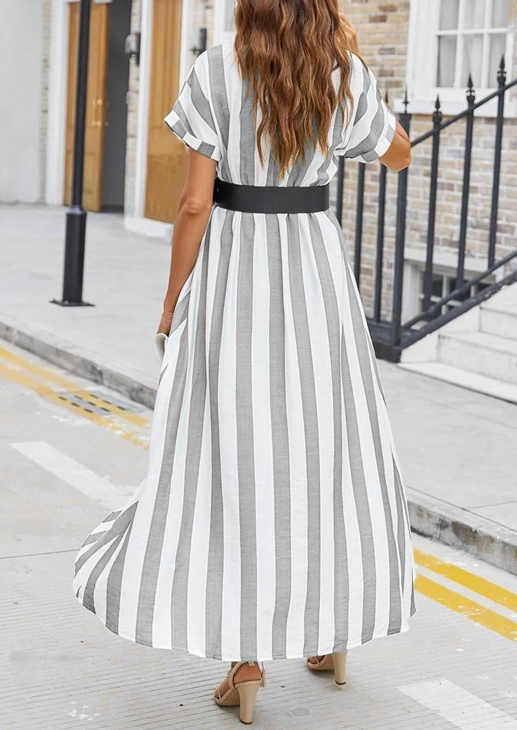 Striped Wrap Asymmetric V-Neck Maxi Dress with Belt