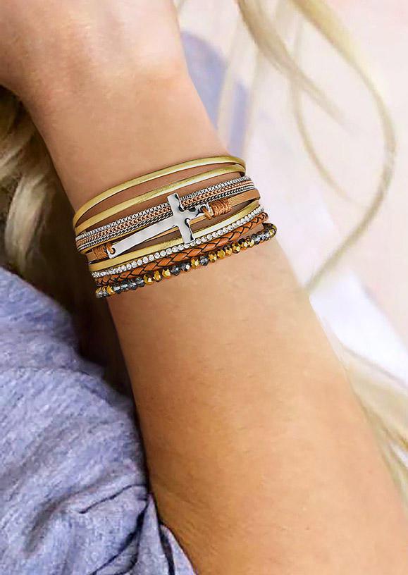 Cross Beading Rhinestone Magnetic Buckle Bracelet