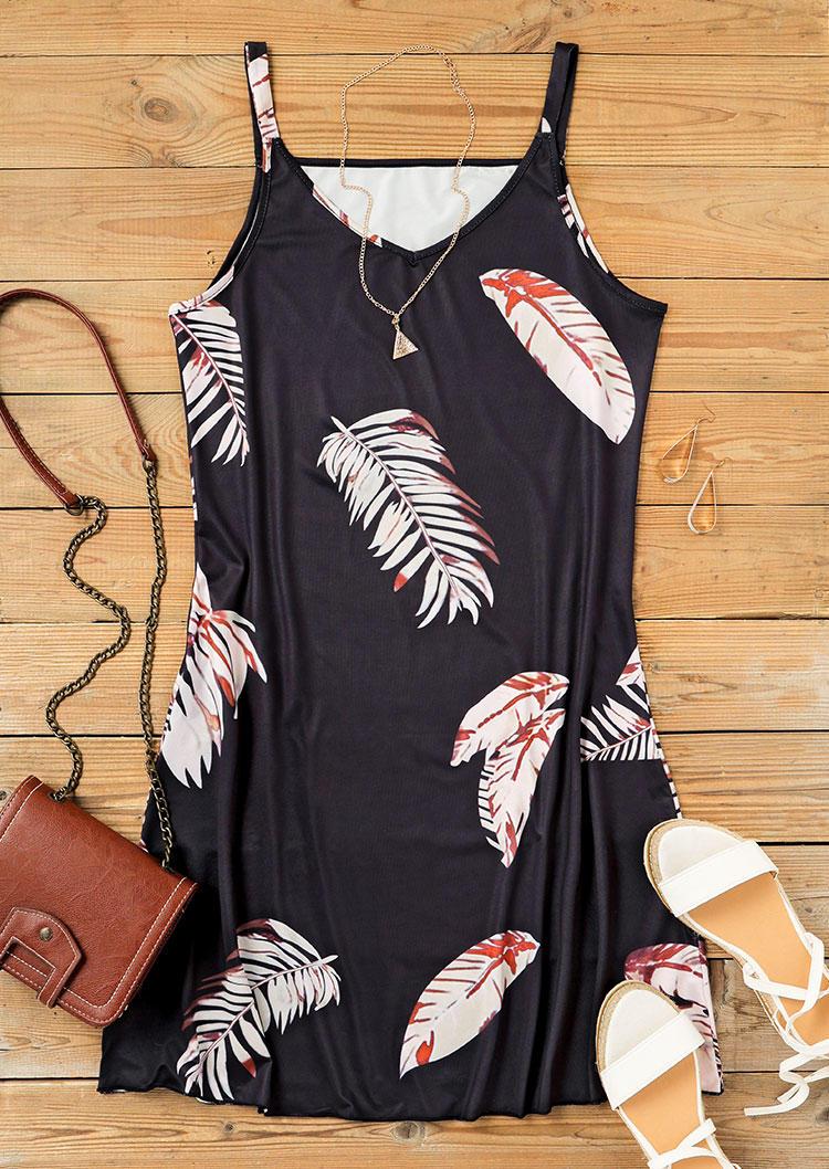 Palm Leaf V-Neck Spaghetti Strap Mini Dress - Black