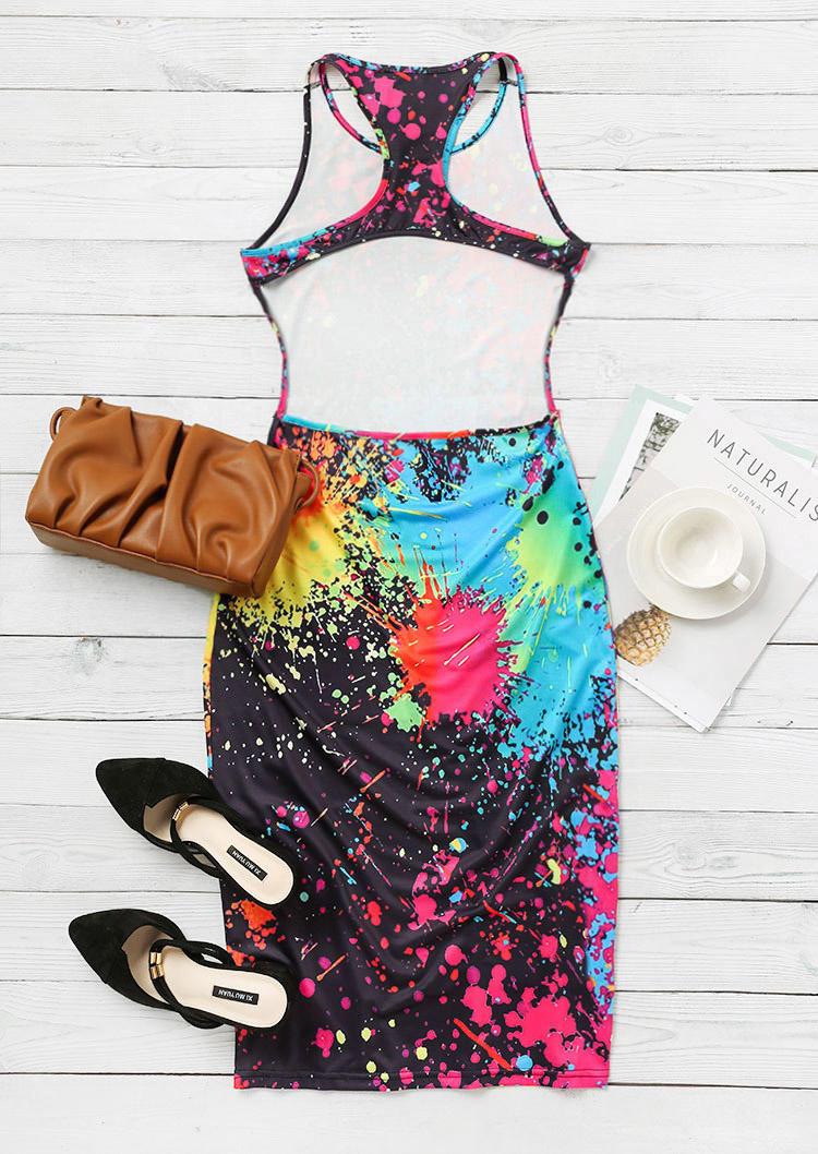 Tie Dye Hollow Out Sleeveless Bodycon Dress