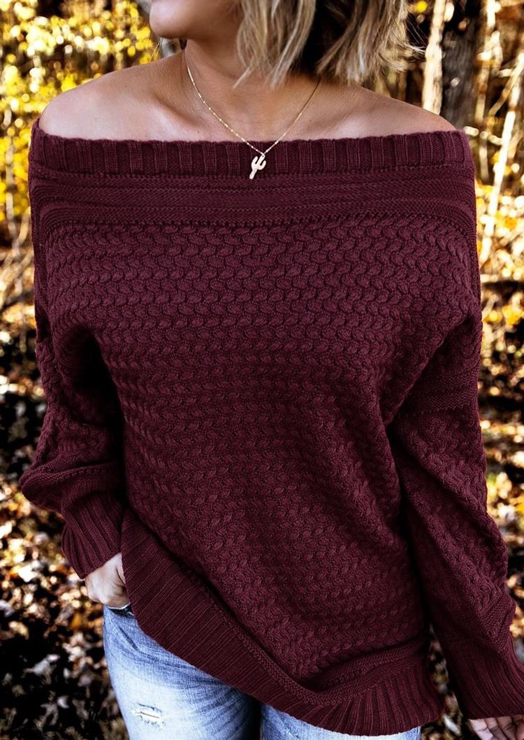 Off Shoulder LongSleeve Sweater - Burgundy