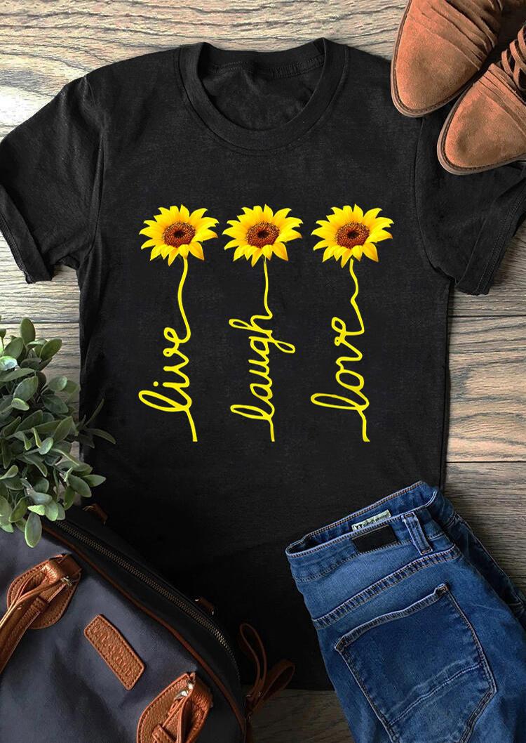 Live Laugh Love Sunflower T-Shirt Tee - Black