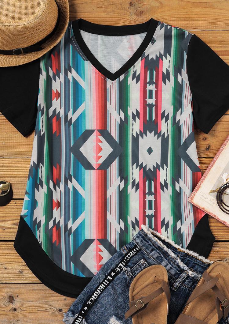 Aztec Geometric Striped V-Neck Blouse
