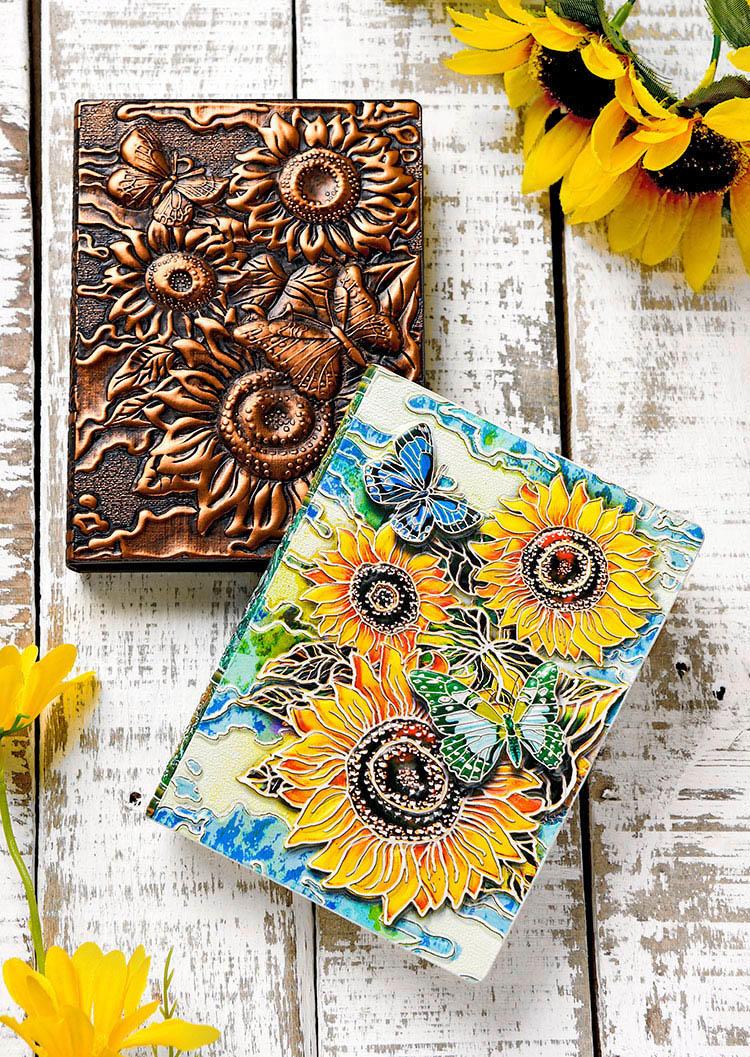 Vintage Embossed Sunflower PU Leather Journal Notebook