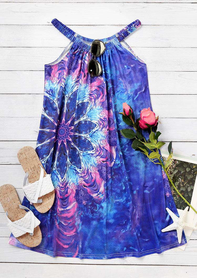 Mandala Tie Dye Sleeveless Spaghetti Strap Mini Dress - Blue
