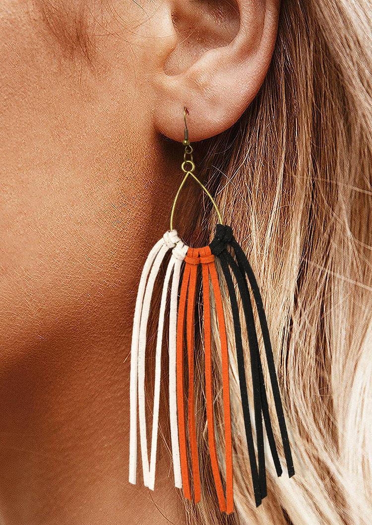 Rainbow Tassel Hook Leather Earrings