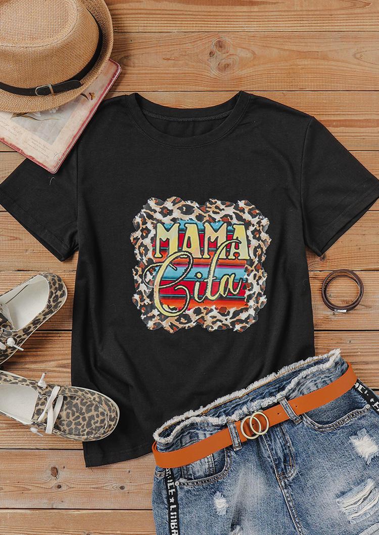 Leopard Serape Striped Mama T-Shirt Tee - Black