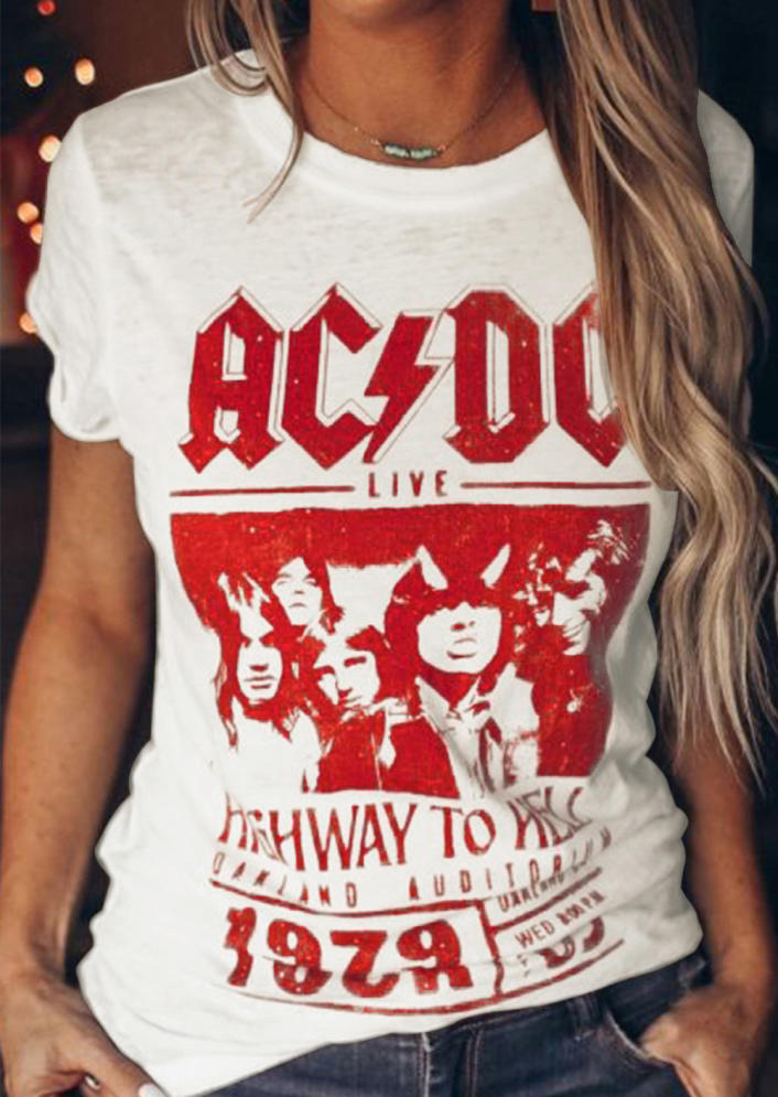 AC DC Live Highway To Hell 1979 T-Shirt Tee - White