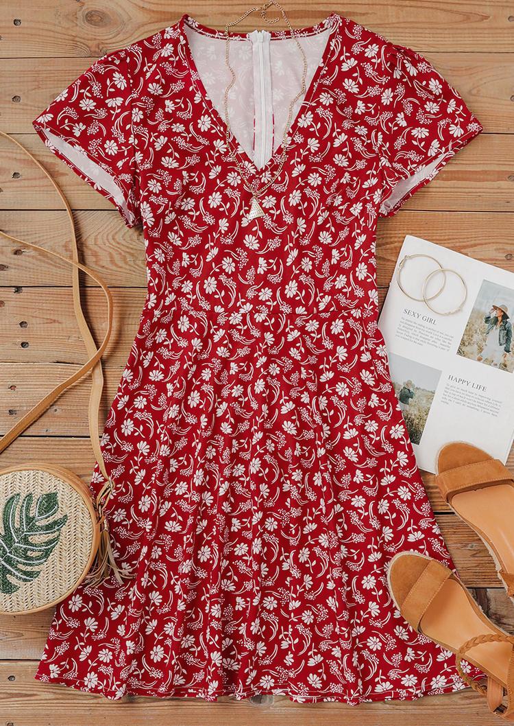 Floral V-Neck Short Sleeve Mini Dress - Red