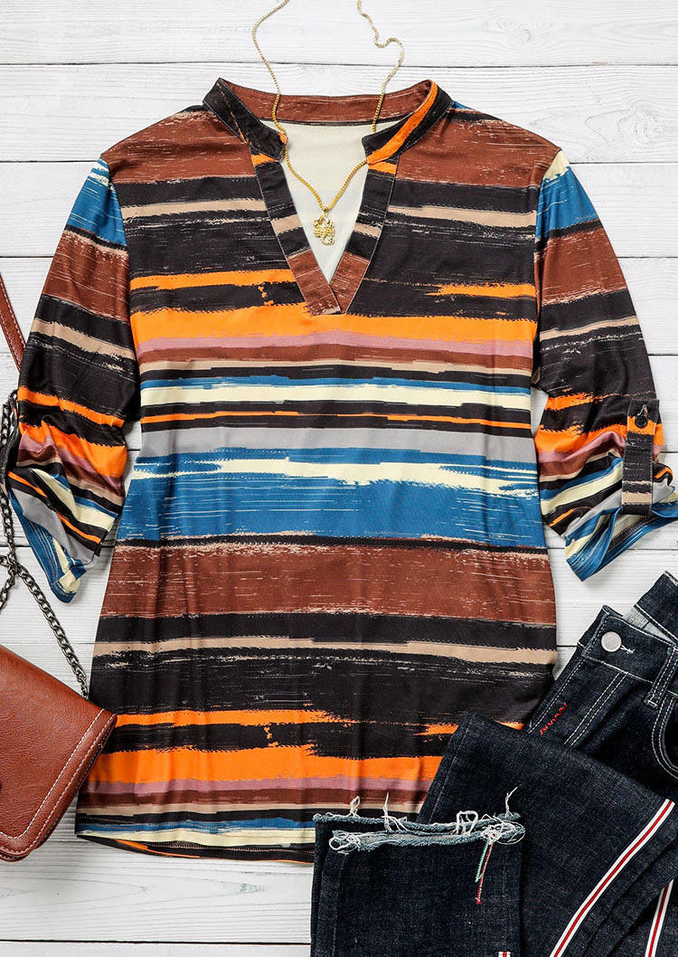 Striped Water Color Notched Neck Blouse
