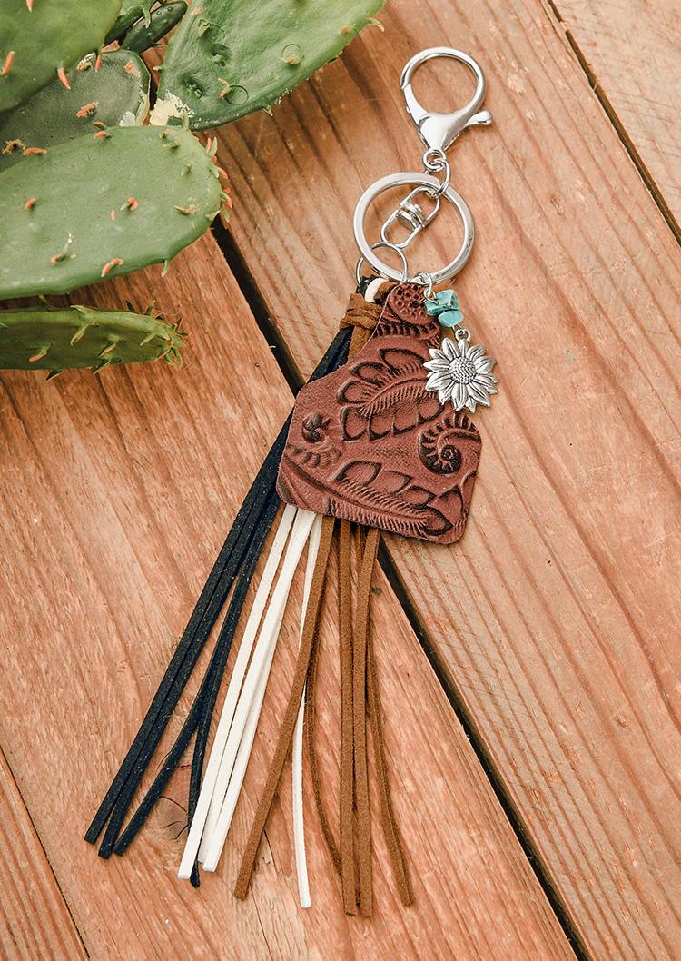 Keychains Vintage Leopard Tassel Sunflower Keychain in Brown,Leopard. Size: One Size