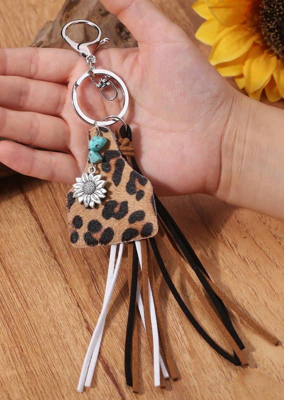 Vintage Leopard Tassel Sunflower Keychain