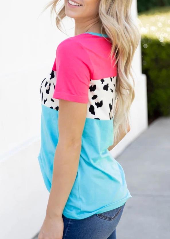 Leopard Color Block Short Sleeve Blouse
