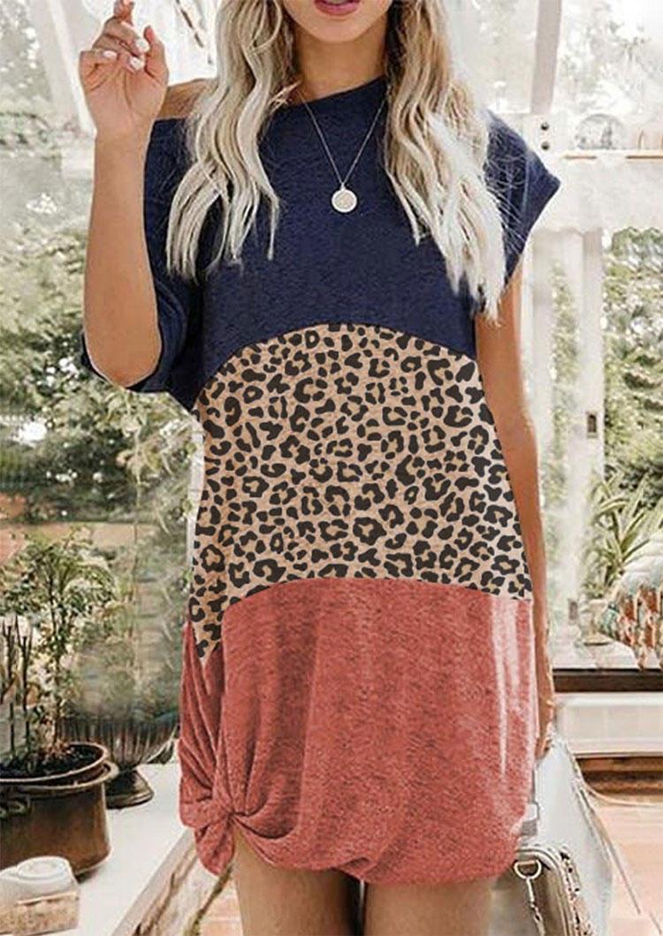 Leopard Color Block Splicing Tie Mini Dress