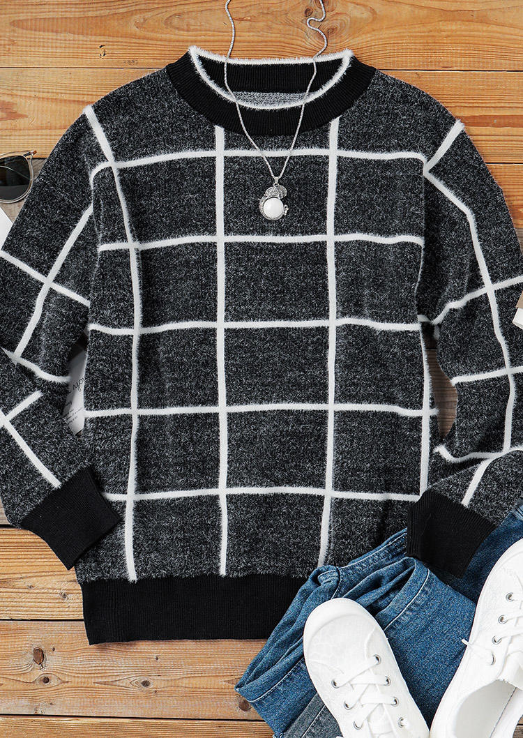 Plaid Pullover LongSleeve O-Neck Sweater