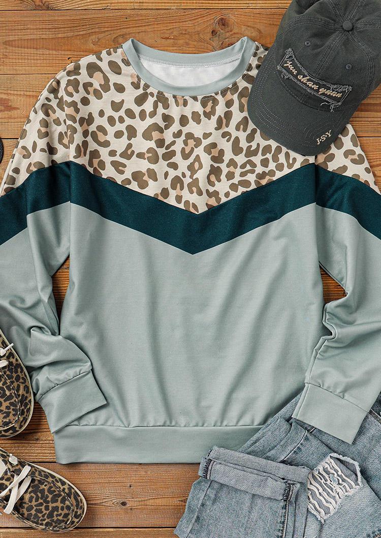 Sweatshirts Leopard Splicing Color Block Sweatshirt in Multicolor. Size: S,M,L,XL